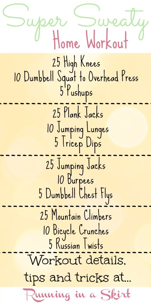 Super Sweaty Home Workout - workout routine and inspiration to break a full body sweat/ Running in a Skirt