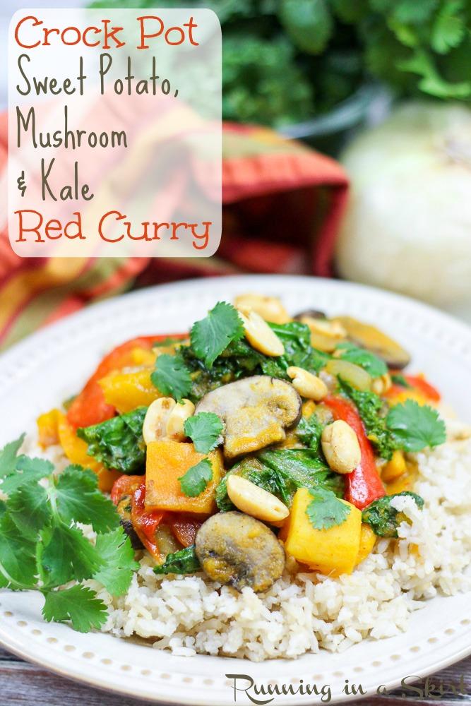 Vegetarian Crock Pot Red Curry - sweet potato, mushroom & kale!/ Running in a Skirt