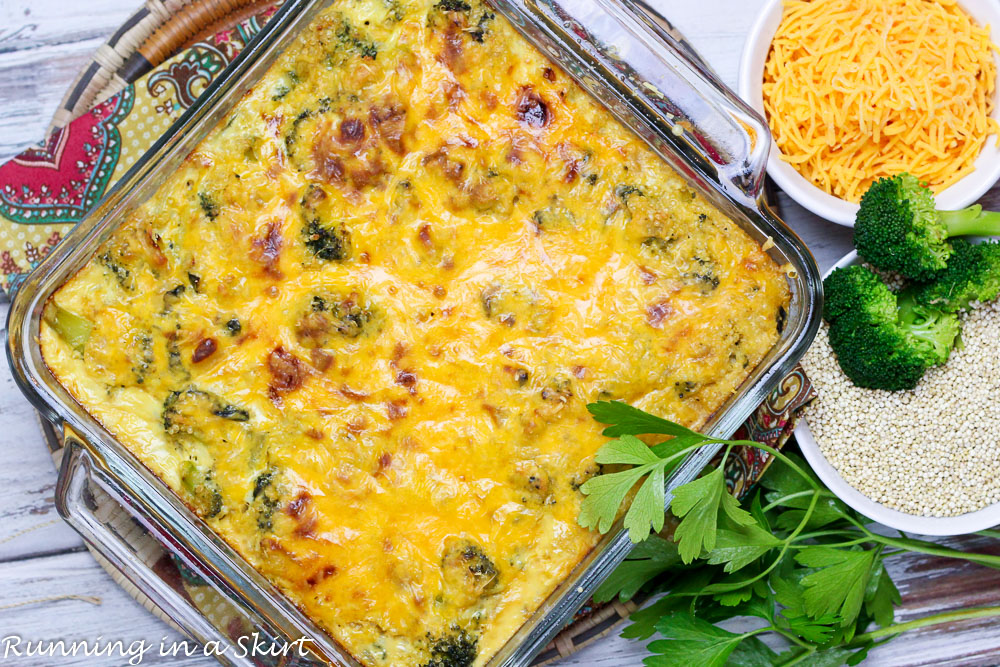"""Cheesy Broccoli Quinoa Casserole with kale - """"healthy"""" comfort food! / Running in a Skirt"""