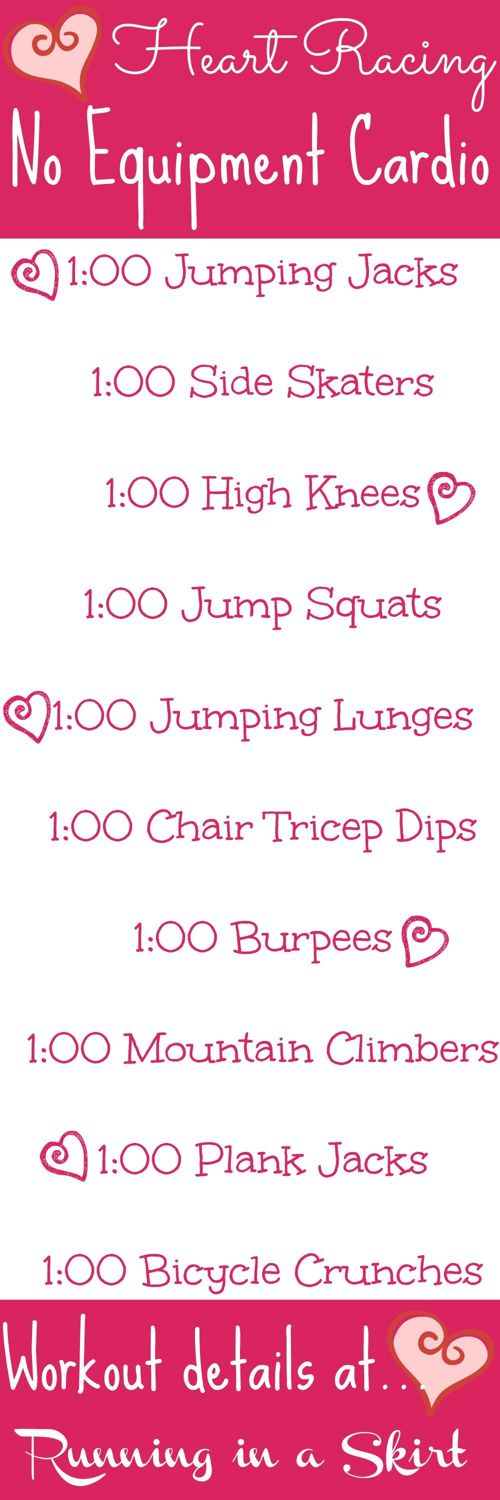 Heart Racing No Equipment Cardio Workout. Simple, effective cardio workout that you can do at home- involves NO running! Get your fitness on and heart rate up! | Running in a Skirt via @juliewunder