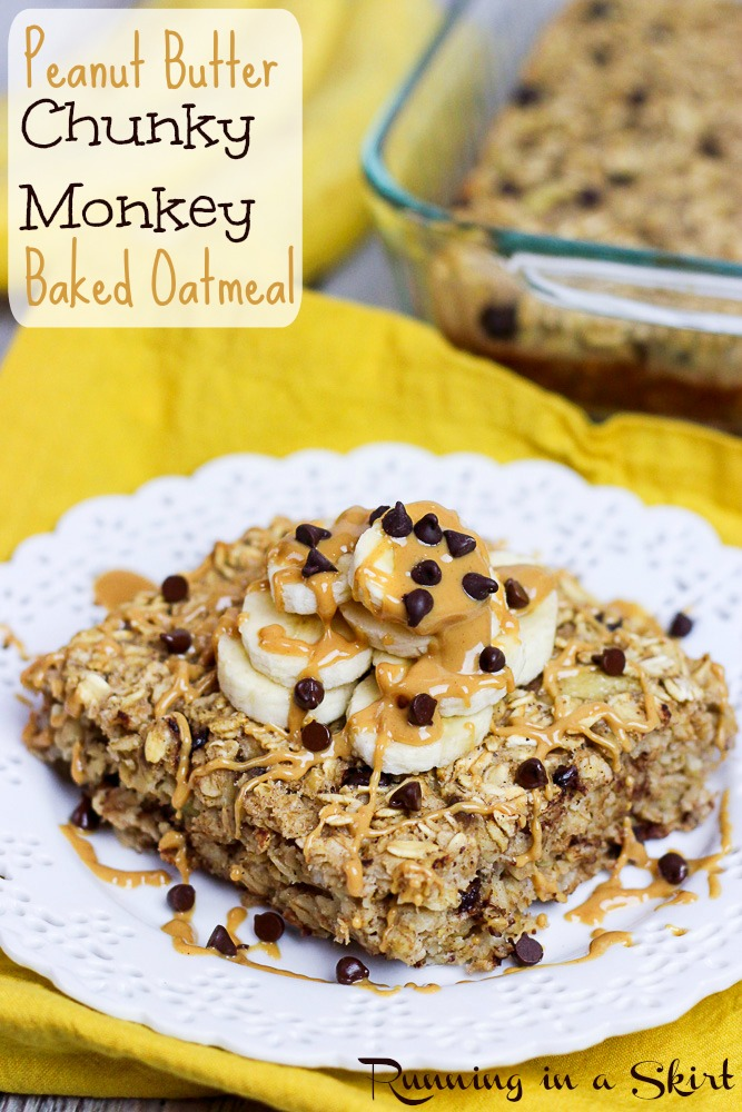 Chunky Monkey Peanut Butter Baked Oatmeal recipe pinterest pint.