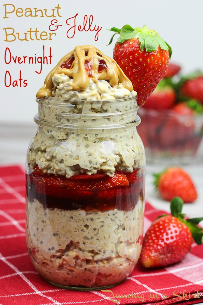 Healthy Peanut Butter and Jelly Overnight Oats recipe with chia seeds!-- Your all time favorite sandwhich in a healthy, easy and delicous breakfast package!