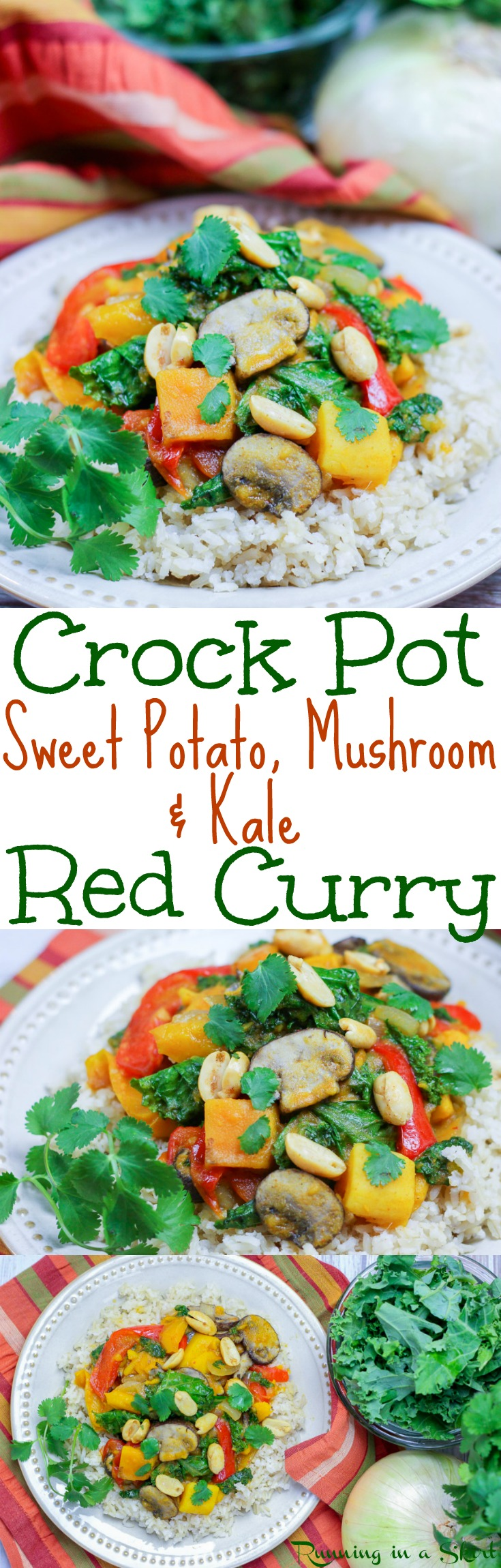 Vegetarian Crock Pot Curry recipe - with coconut milk, sweet potato, mushrooms & kale. Thai takeout flavors at home in a crockpot meals - easy, healthy and perfect for families. Simple, clean eating and low carb without the rice. Great for vegans and gluten free. / Running in a Skirt via @juliewunder