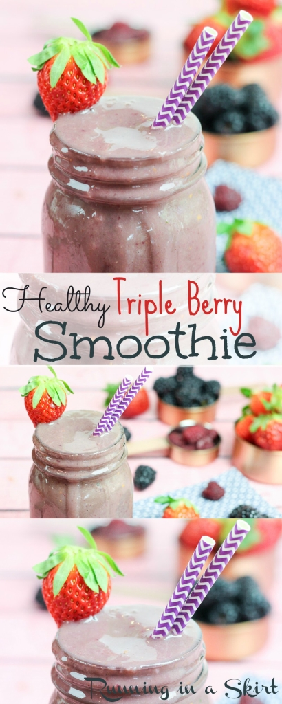 Triple Berry Smoothie Recipe - healthy smoothie perfect for breakfast or snack. Uses almond milk, banana and blueberry, raspberry, strawberry and spinach. / Running in a Skirt