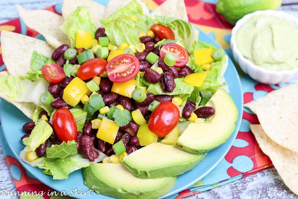 Vegetarian Taco Salad Recipe - simple healthy dinner idea. / Running in a Skirt