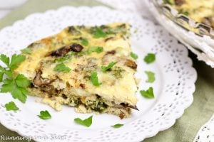 Easy Crustless Kale Quiche recipe Vegetarian Crustless Quiche- Includes skinny, healthy swaps to cut calories