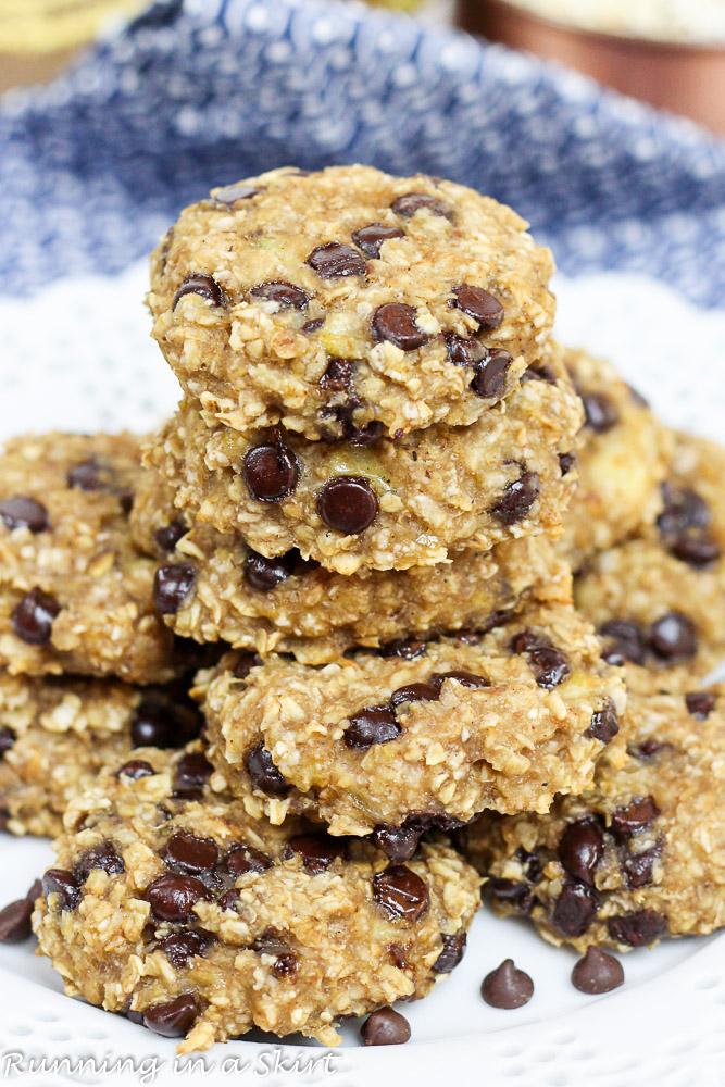 Healthy Banana Oatmeal Chocolate Chip Cookies, healthy, vegan and clean eating
