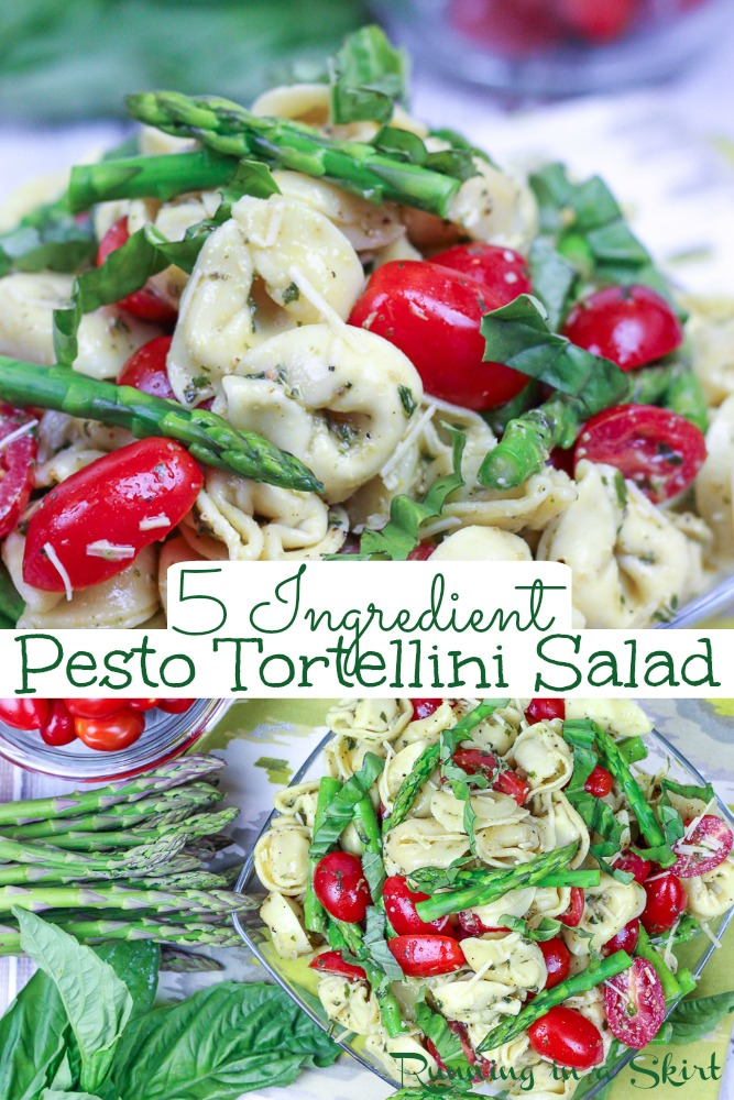 Pesto Tortellini Salad recipe- only 5 Ingredients. Simple and easy with asparagus, tomato, and basil and Italian flavors. Serve cold or warm for the perfect healthy summer pasta salad. Vegetarian. / Running in a Skirt #pastasalad #healthy #vegetarian #recipe #pesto via @juliewunder