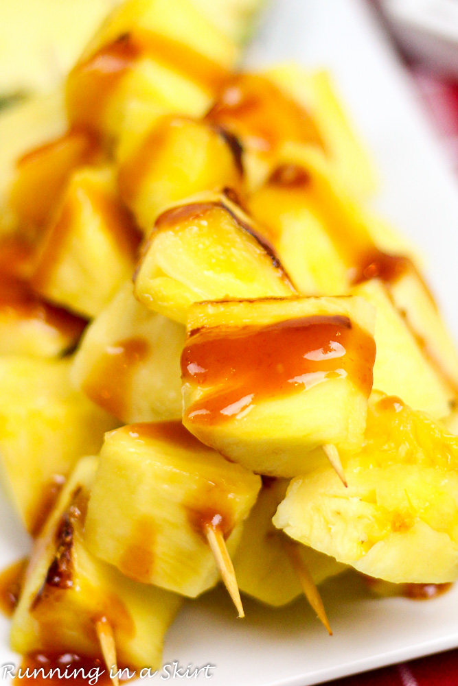 Grilled Pineapple Kabobs with simple, homemade Pineapple BBQ Sauce Recipe / Running in a Skirt