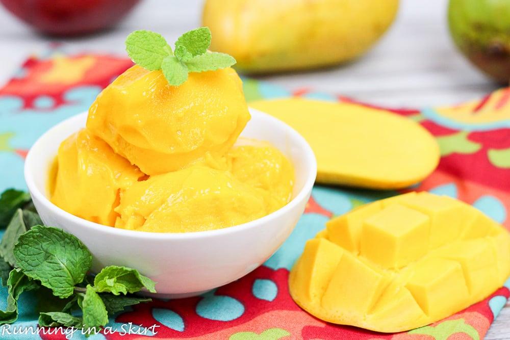 A white bowl of mango sorbet.