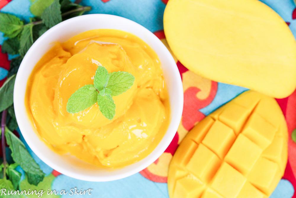 White bowl of mango sorbet.