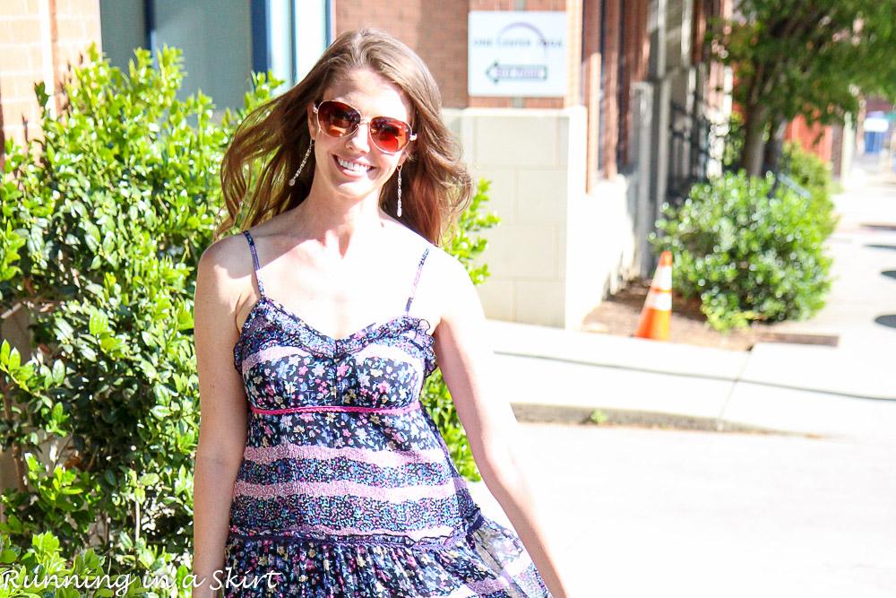 Long Purple Boho Dress / Running in a Skirt