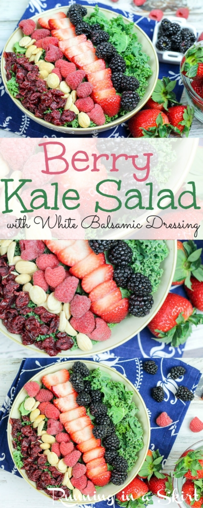 Summer Kale Salad recipe with berries and white balsamic dressing