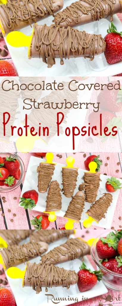 Chocolate Covered Strawberry Protein Popsicles / Running in a Skirt