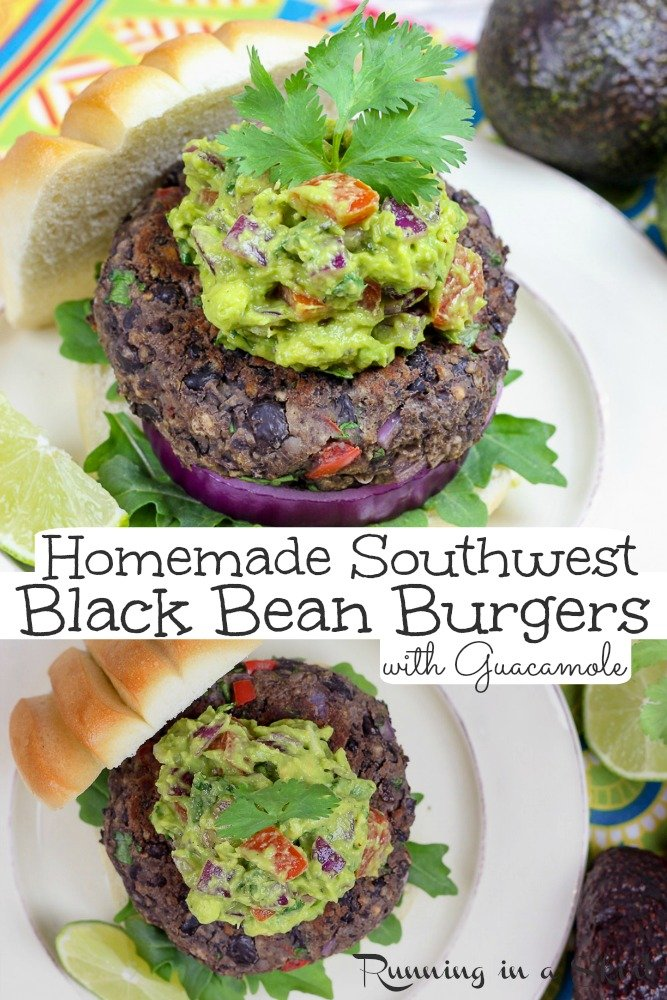 Homemade Black Bean Burger recipe - This is the BEST Southwest Black Bean Burger with Guacamole. An easy and healthy vegetarian burger patties recipe that's plant based, low calorie and delicious. Simple to grill or cook on the stove. Family recipe! Includes vegan option. / Running in a Skirt #vegetarian #vegan #burger #blackbeans #healthy via @juliewunder