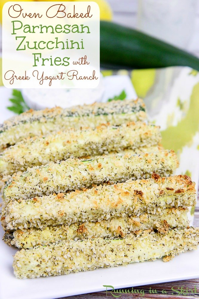 Oven Baked Zucchini Fries with greek yogurt ranch