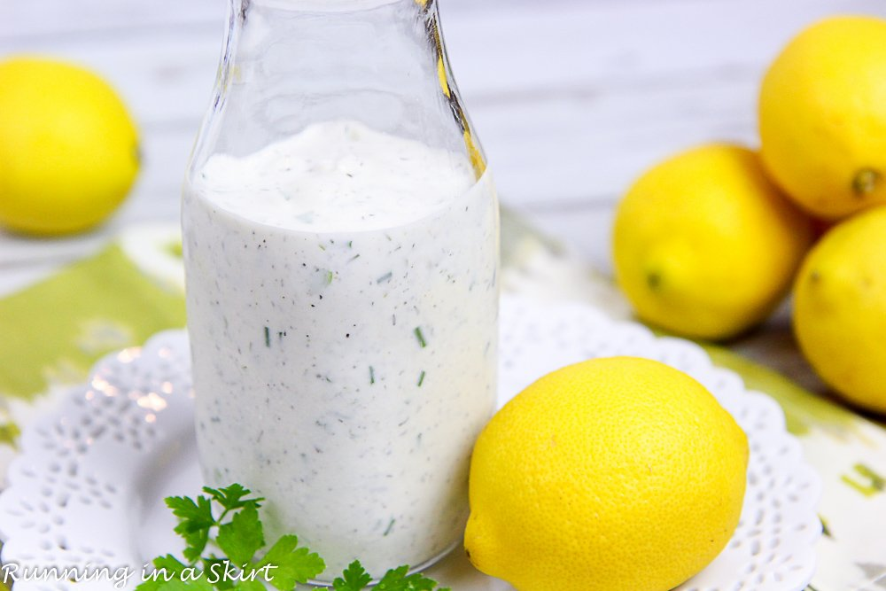 Bottle of healthy Greek yogurt ranch dressing.