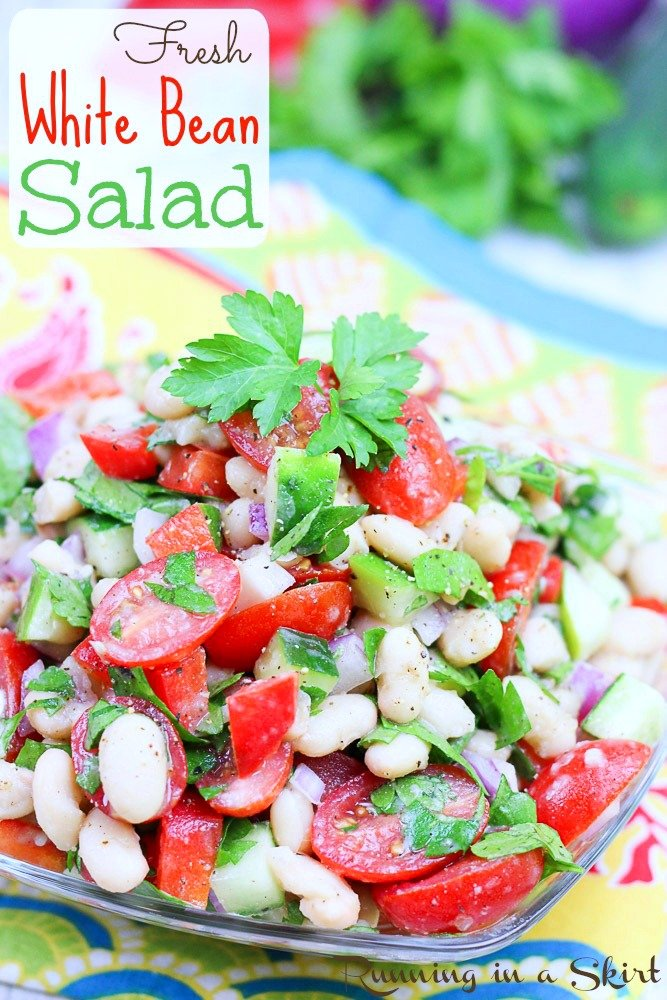 Easy Vegan Bean Salad recipe with white beans and tomato - pin for pinterest.