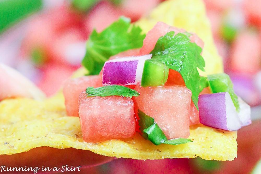Watermelon salsa on a chip.