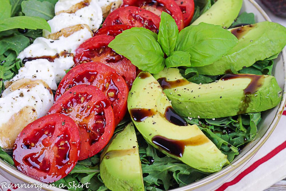 Closeup of the Avocado Caprese Salad in a bowl.