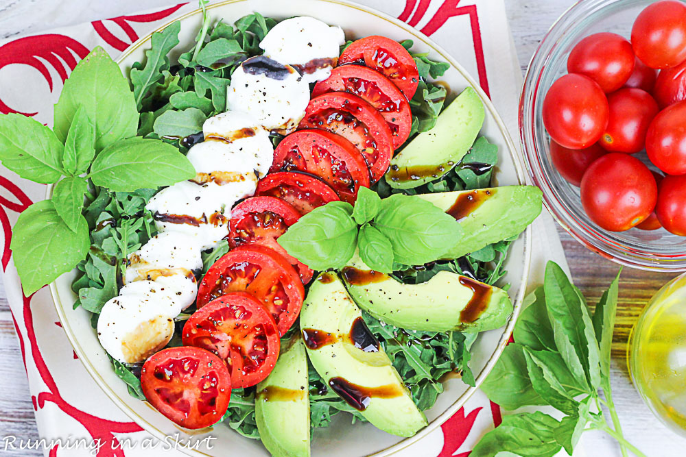 Final shot with Avocado Caprese in a bowl.