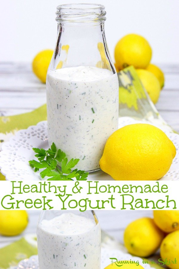 Homemade Healthy Greek Yogurt Ranch Dressing recipe. A DIY, Clean, simple and easy recipe using pantry staples. Can be made thicker to use as a dip. Tastes amazing- use for low carb, skinny or weight watchers to top a salad. You'll never miss the bottle! / Running in a Skirt #greekyogurt #ranchdressing #healthydressing via @juliewunder