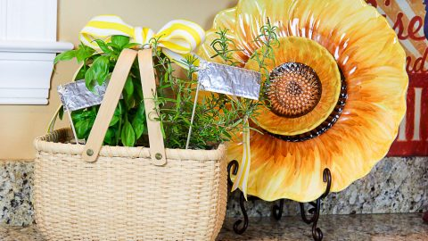 DIY How to make an Indoor Herb Garden with foil plant tags