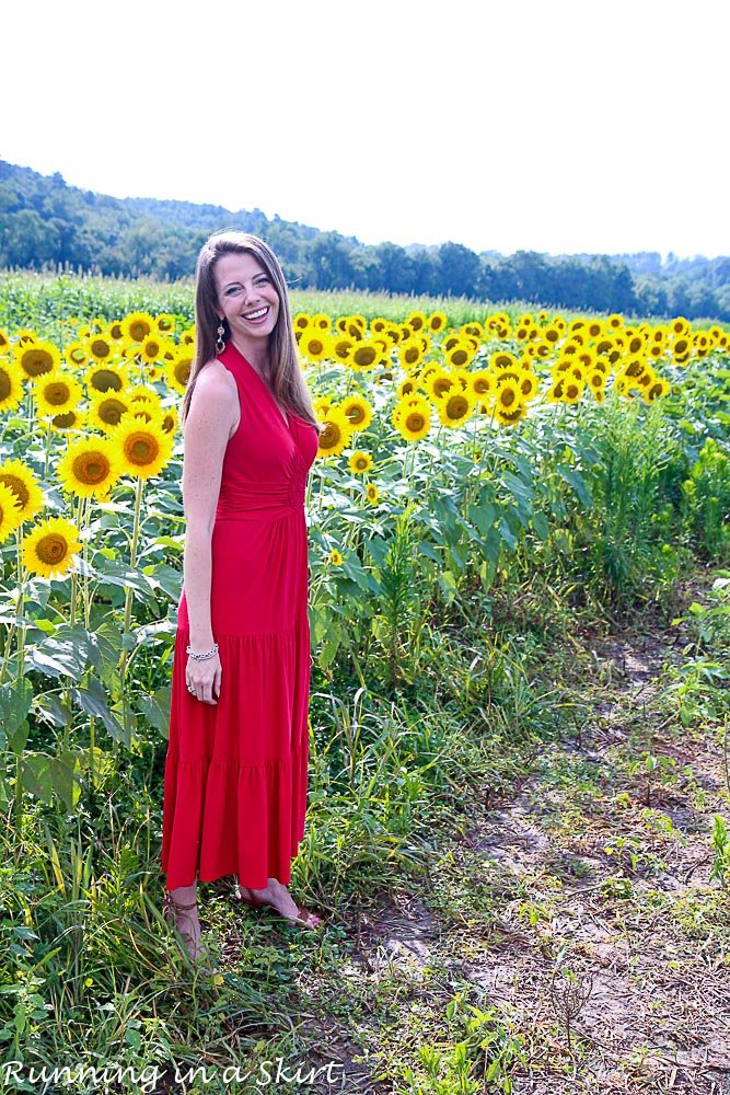 Red Dress in Sunflowers-26-2