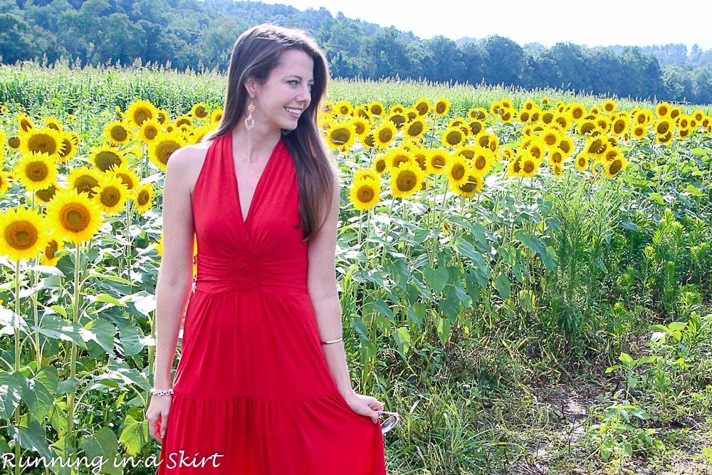 Fashion Friday – Red Dress in Sunflowers