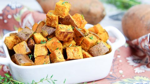 4 Ingredient Simple Roast Sweet Potatoes / Running in a Skirt