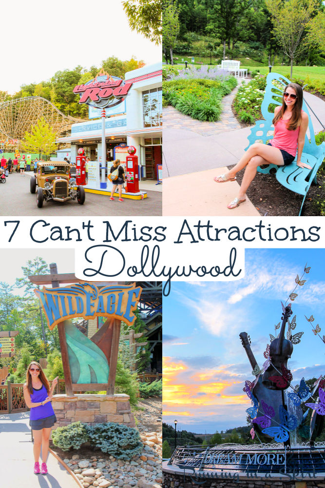 Dollywood Park Tips - 7 Can't Miss Attractions in Pigeon Forge, Tennessee near Gatlinburg. Includes things to do, favorite attractions, rides, food - restaurants and the Dreammore Resort owned by Dolly Parton. The best of the Smoky Mountains TN for kids and adults! / Running in a Skirt #travelblogger #tennesseetravel #dollywood #pigeonforge #gatlinburg via @juliewunder