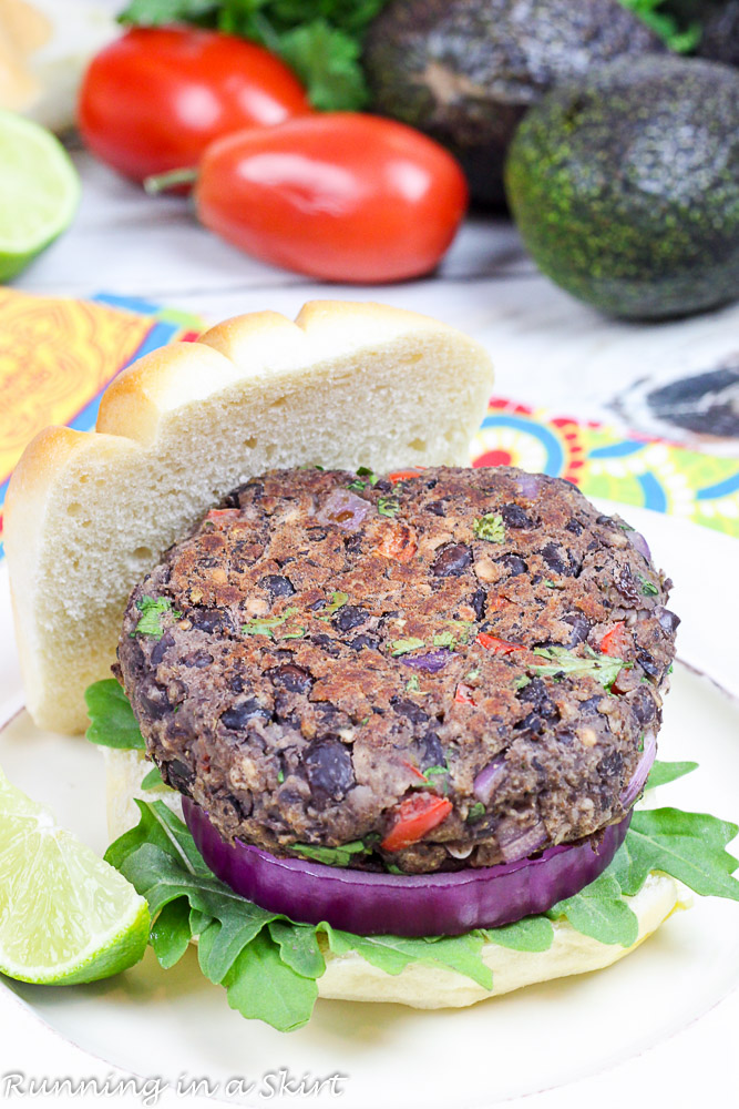 Homemade Southwest Black Bean Burgers without the topping.