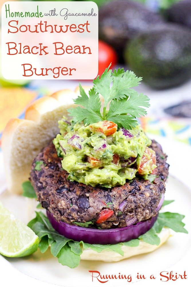 Homemade Southwest Black Bean Burgers with Gaucamole pin