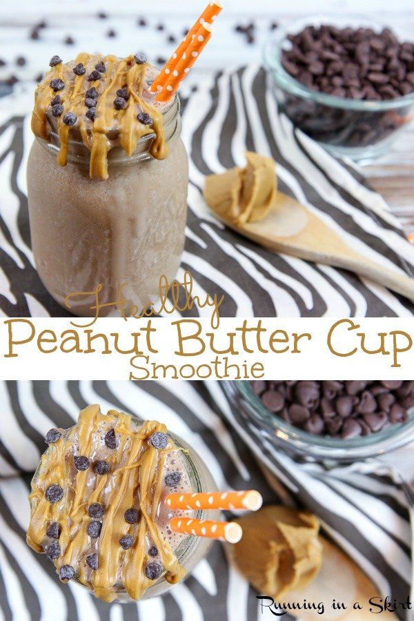 Healthy Peanut Butter Cup Smoothie recipe - a tasty peanut butter and chocolate smoothie with frozen banana, greek yogurt, ice cubes and powdered peanut butter. Simple, easy and perfect for blenders! / Running in a Skirt #smoothie #recipe #healthy #peanutbutter #chocolate #cleaneating via @juliewunder