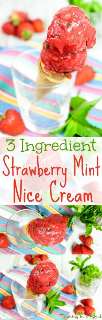 3 Ingredient Vegan Strawberry Sorbet - Strawberry Mint Nice Cream / Running in a Skirt