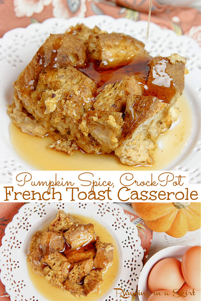 Pumpkin French Toast Casserole Recipe- Crock Pot or Oven instructions. The perfect Slow Cooker Healthy Pumpkin Spice Breakfast Bake with bread, pumpkin, eggs, milk (whole wheat, challah or brioche!) and pumpkin pie spice. So simple, quick and easy. Make ahead, soak overnight and cook in the morning. Top with maple syrup! Looking for healthy pumpkin recipes? This is it! Vegetarian / Running in a Skirt #pumpkin #pumpkinspice #thanksgiving #healthypumpkin via @juliewunder