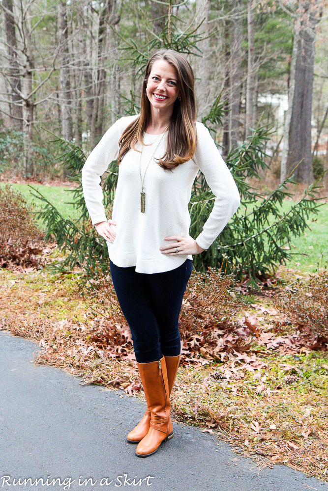 LOFT Cream Sweater and Jeans / Running in a Skirt