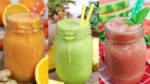 Healthy Smoothie Ideas collage with 3 smoothies.
