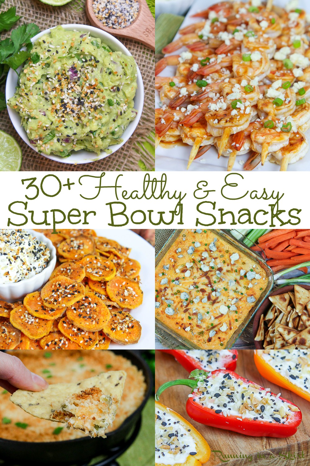Healthy Super Bowl Snacks - Clean Eating, Vegan and Vegetarian options. These are game day recipes and party appetizer ideas you can actually feel good eating. The list is made up of clean eating vegetarian recipes with vegan - dairy free options. From appetizer, dips, sauces, treats and sweet options- this list has all the easy appetizers your need for your football party! / Running in a Skirt #superbowl #cleaneating #vegetarian #vegan #vegetariansuperbowl #healthysuperbowl via @juliewunder