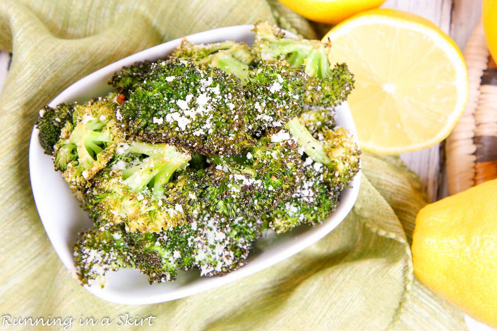 Roasted Lemon Parmesan Broccoli recipe / Running in a Skirt