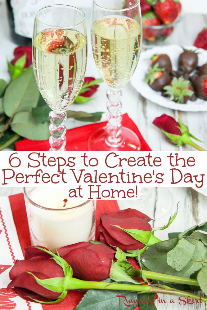 6 Steps to Create the Perfect Valentine's Day at Home.  Staying in for Valentine's Day?  These date ideas and dinner menus can help you elevate your evening into something romantic and special.  Includes instructions for DIY chocolate covered strawberries. / Running in a Skirt #valentinesday #healthyliving #romantic #date via @juliewunder
