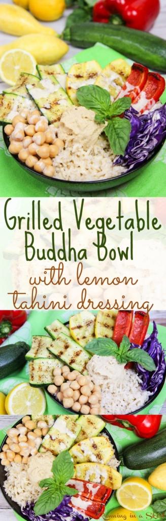 Grilled Vegetable Buddha Bowl recipe with homemade Lemon Tahini Dressing / Running in a Skirt