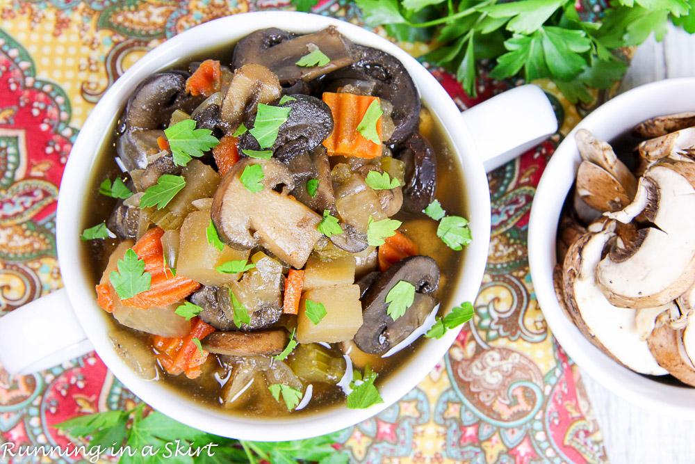 Healthy Vegetarian Crock Pot Mushroom Soup/ Running in a Skirt
