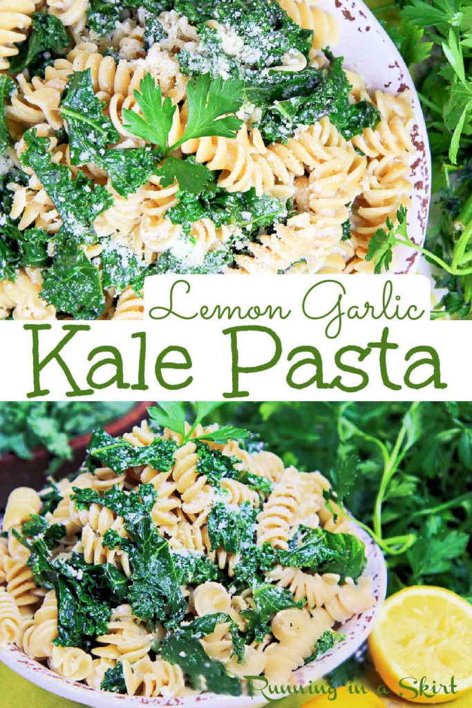 Pinterest pin collage for the kale pasta recipe.