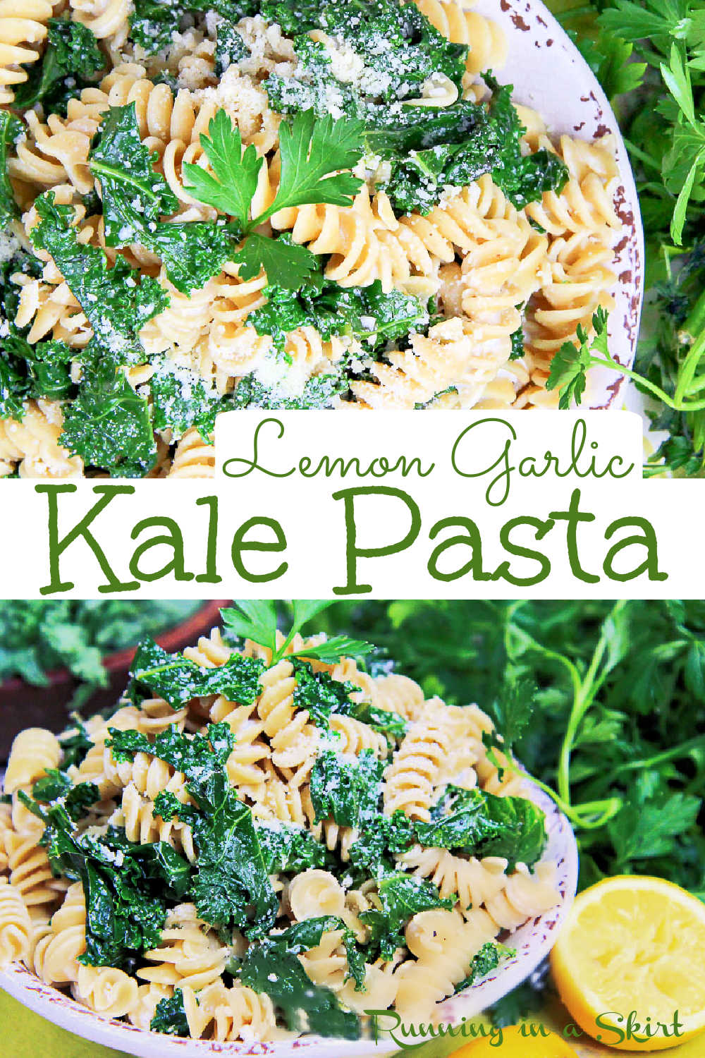 Kale Pasta Recipe with a light greek yogurt, parmesan, lemon and garlic sauce. Looking for healthy vegetarian pasta recipes this is it? The perfect combo of comfort and health foods that's easy, simple homemade and delicious. You'll love this pasta with kale! Perfect for meatless Monday! Includes a vegan option. Can use gluten free pasta. Clean Eating. / Running in a Skirt #kale #pasta #vegetarian #comfortfoods #healthy via @juliewunder