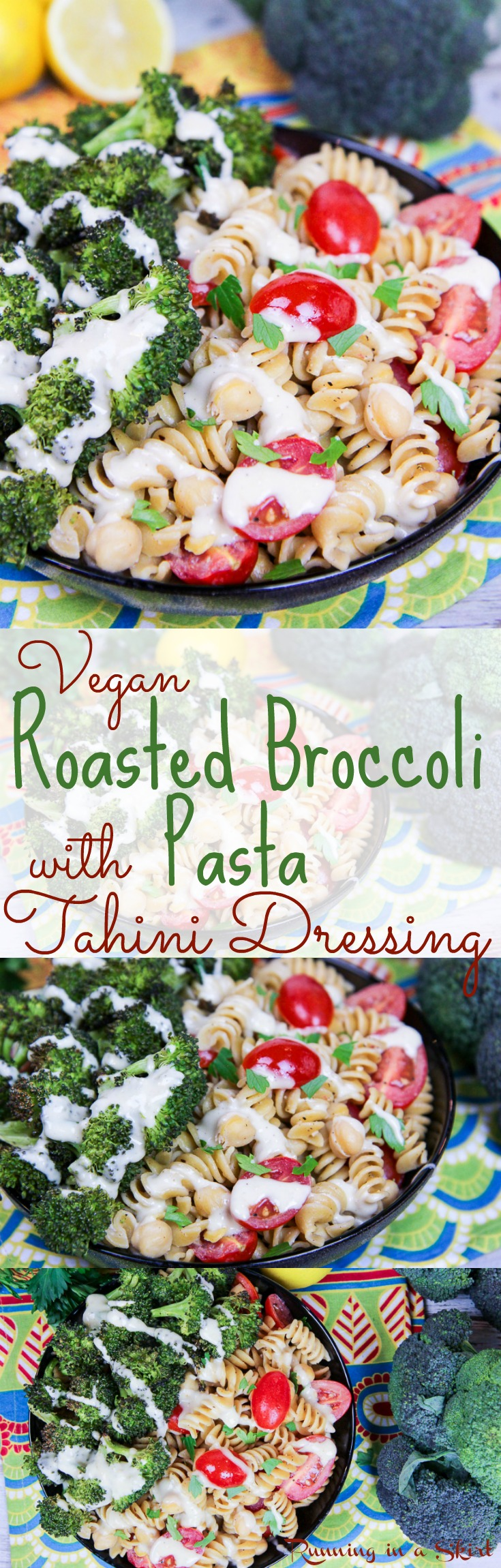 20 Minute Healthy Roasted Broccoli Pasta recipe with Tahini Dressing. An easy vegan / vegetarian meal for when you need comfort foods. Great for weeknight dinners and meals. Uses whole wheat pasta and chickpeas for added protein. Dairy free! / Running in a Skirt via @juliewunder