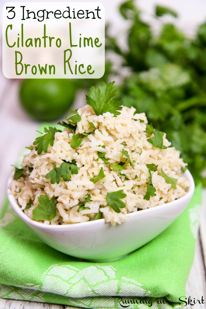 cilantro lime brown rice recipe / Running in a Skirt