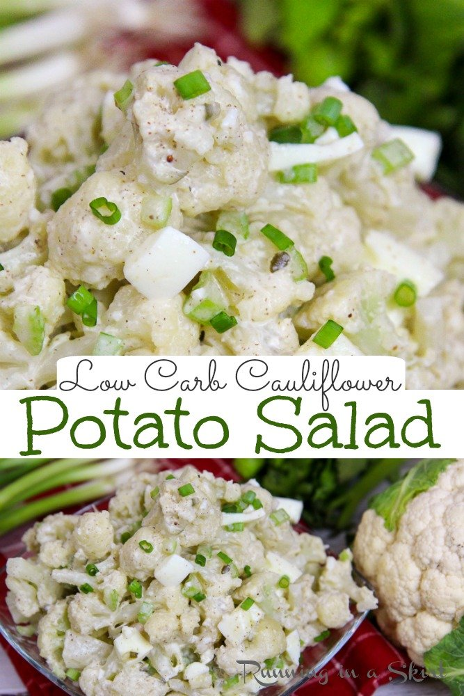 The Best Cauliflower Potato Salad recipe- Low Carb, Healthy & Keto. Only 6 Ingredients. This Mock Potato Salad is made with cauliflower and greek yogurt instead of potato and mayonnaise. It's easy, simple, and delicious. Tastes like classic potatoes salad and is a great vegetarian cookout recipe! / Running in a Skirt #lowcarb #healthy #keto via @juliewunder