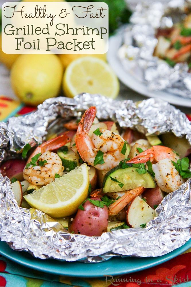 Healthy Grilled Shrimp in Foil Recipe pinterest pin.