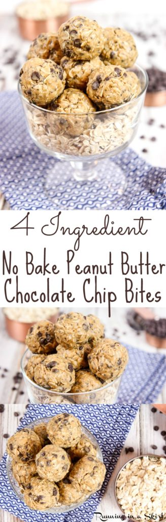 4 Ingredient Healthy No Bake Peanut Butter Bites recipe with Chocolate Chips! Perfect for healthy snacks or a sweet treat without the guilt. With chia seeds! Dairy free, gluten free, vegan friendly, vegetarian and no added sugar. / Running in a Skirt